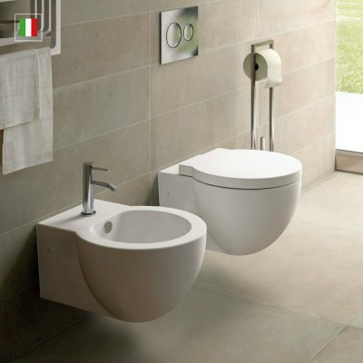 Cielo Easy Bath Sanitary WC + Bidet + Toilet Seat Soft Close Outlet EASVS+EASBS+CPVEASTF
