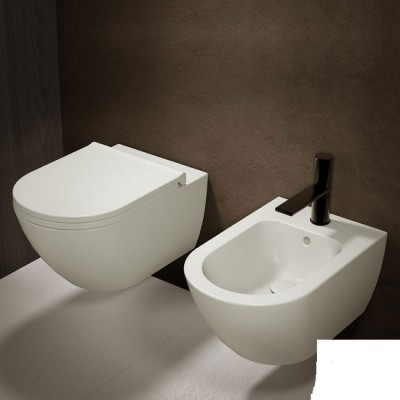 Cielo Enjoy white wall hung sanitary with toilet seat EJVS+EJBS+CPVEJT