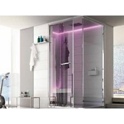 HAFRO ETHOS SERIES HAMMAN WITH INTEGRATED SHOWER 150X150XH.215 CORNER VERSION SX