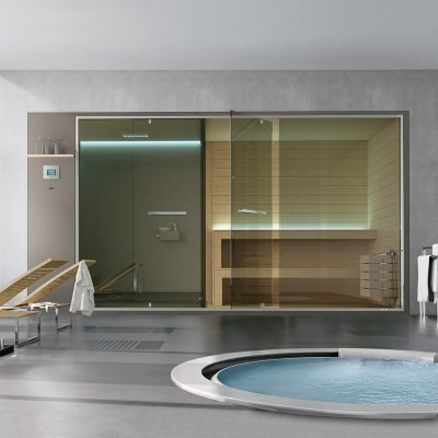 HAFRO ETHOS SERIES HAMMAN WITH INTEGRATED SHOWER+SPACE SHOWER+SAUNA 400X150XH.215 WALL VERSION SX