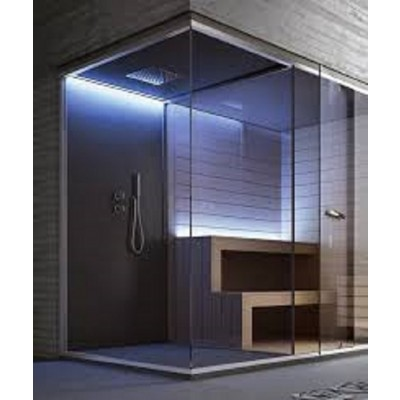 HAFRO ETHOS SERIES HAMMAN WITH INTEGRATED SHOWER+SAUNA 350X150XH.215 CORNER/NICHE VERSION SX