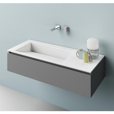 Planit Faust bathroom top with built-in bowl in Corian Glacier FAUST 1