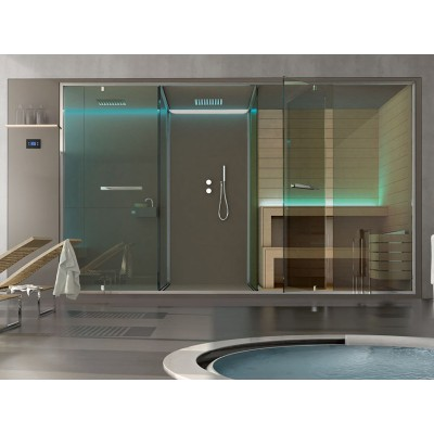 Hafro ETHOS private wellness system complete with sauna shower space and integrated shower SSAET5E1S