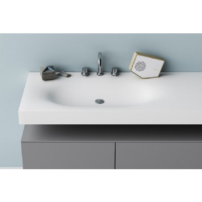 Planit Moby bathroom top thermofored sink in Corian Glacier MOBY
