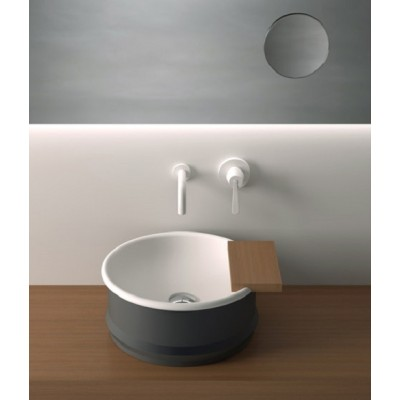 Agape Vieques Sinks over countertop round sink with floorstanding ACER0798P
