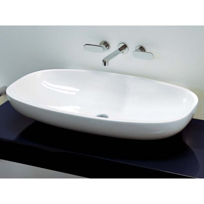 Flaminia Nuda 95 bench-wall hung sink with center drain in ceramic 5082