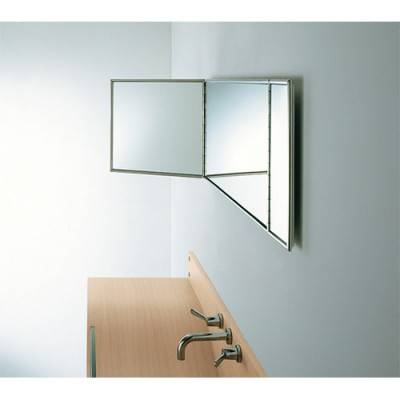 Agape Gabbiano rectangular mirror with polished stainless steel structure AGAB0351