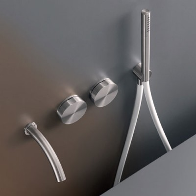 Cea Design Giotto Wall mounted 2 progressive taps set for bathtub GIO26IS + recessed part PTR05