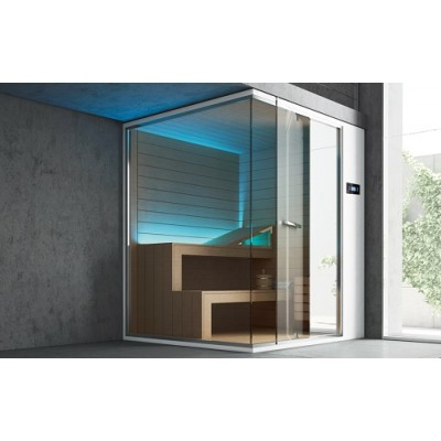 HAFRO GHIBLI SERIES SAUNA 150X120XH.215 CORNER/WALL VERSION SX