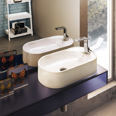 Flaminia Pass 60 oval bench sink in ceramic PS60AT