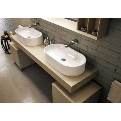 Flaminia Pass 65 oval bench sink in ceramic PS65AT