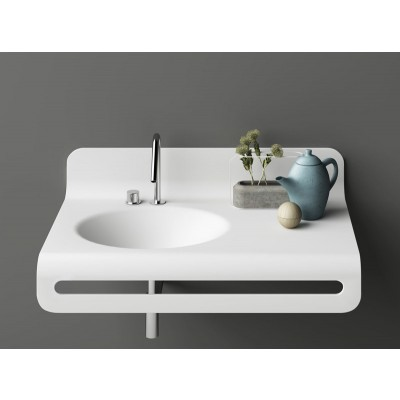 Planit Wave suspended sink in Corian WAVE2
