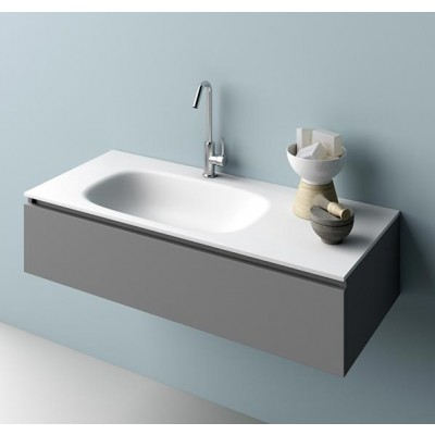 Planit Strech bathroom top with thermofored sink in Corian Glacier STRECH 1