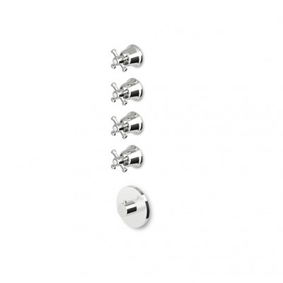 "Zucchetti Delfi Mixers 3/4"" built-in thermostatic shower tap with 4 stop valves Z46097+R99793"