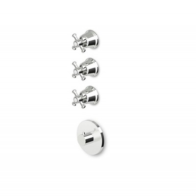 "Zucchetti Delfi 3/4"" built-in thermostatic shower tap with 3 stop valves Z46098+R99632"