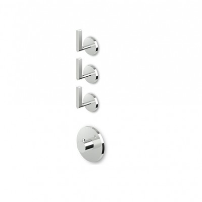 "Zucchetti Simply Beautiful 3/4"" built-in thermostatic shower tap with 3 stop valves ZSB5098+R99632"